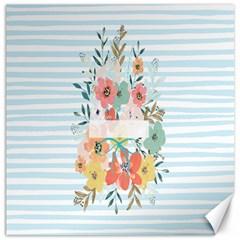 Watercolor Bouquet Floral White Canvas 20  X 20