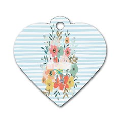 Watercolor Bouquet Floral White Dog Tag Heart (one Side)