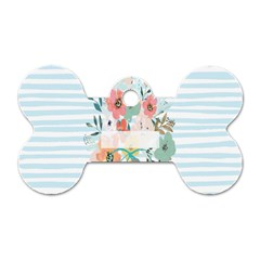 Watercolor Bouquet Floral White Dog Tag Bone (one Side)