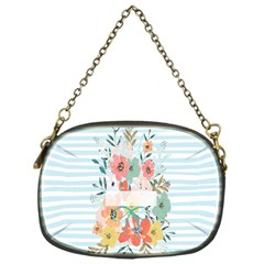 Watercolor Bouquet Floral White Chain Purses (one Side)
