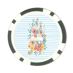 Watercolor Bouquet Floral White Poker Chip Card Guard (10 Pack)