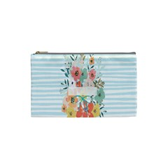 Watercolor Bouquet Floral White Cosmetic Bag (small)