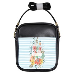 Watercolor Bouquet Floral White Girls Sling Bags