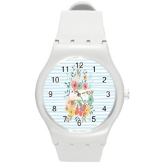 Watercolor Bouquet Floral White Round Plastic Sport Watch (m)