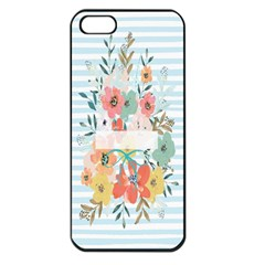 Watercolor Bouquet Floral White Apple Iphone 5 Seamless Case (black)
