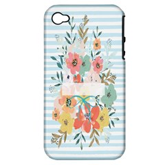 Watercolor Bouquet Floral White Apple Iphone 4/4s Hardshell Case (pc+silicone)