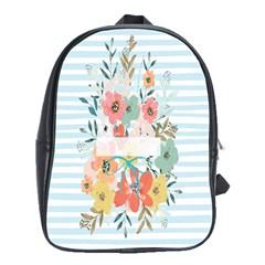 Watercolor Bouquet Floral White School Bag (xl)