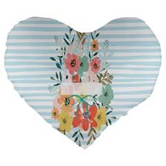 Watercolor Bouquet Floral White Large 19  Premium Heart Shape Cushions