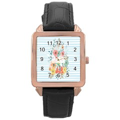 Watercolor Bouquet Floral White Rose Gold Leather Watch