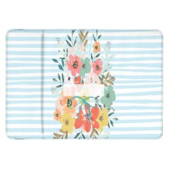 Watercolor Bouquet Floral White Samsung Galaxy Tab 8 9  P7300 Flip Case
