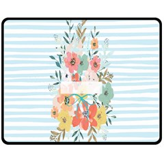 Watercolor Bouquet Floral White Double Sided Fleece Blanket (medium)