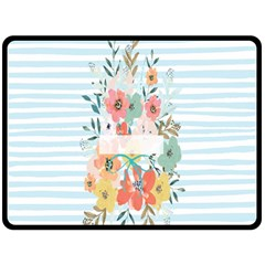 Watercolor Bouquet Floral White Double Sided Fleece Blanket (large)