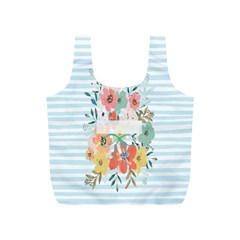 Watercolor Bouquet Floral White Full Print Recycle Bags (s)