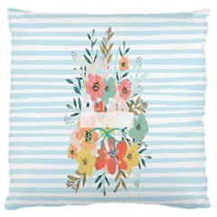 Watercolor Bouquet Floral White Standard Flano Cushion Case (two Sides)