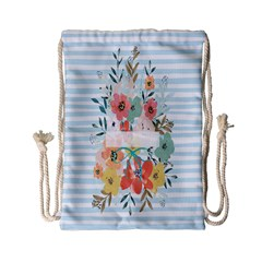 Watercolor Bouquet Floral White Drawstring Bag (small)