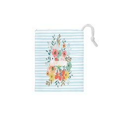 Watercolor Bouquet Floral White Drawstring Pouches (xs)