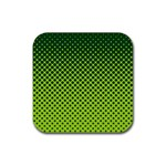 Halftone Circle Background Dot Rubber Coaster (Square)  Front