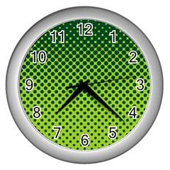 Halftone Circle Background Dot Wall Clocks (silver)