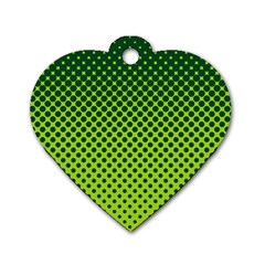 Halftone Circle Background Dot Dog Tag Heart (one Side)