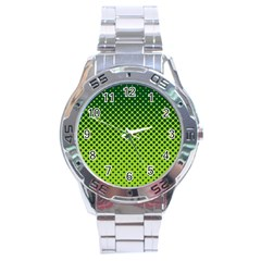 Halftone Circle Background Dot Stainless Steel Analogue Watch