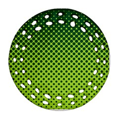 Halftone Circle Background Dot Round Filigree Ornament (two Sides)