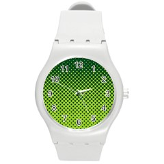 Halftone Circle Background Dot Round Plastic Sport Watch (m)