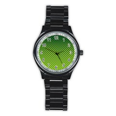 Halftone Circle Background Dot Stainless Steel Round Watch
