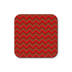 Background Retro Red Zigzag Rubber Coaster (square)