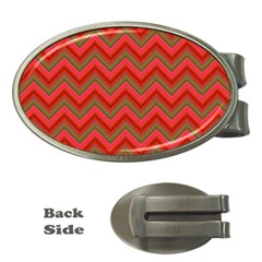 Background Retro Red Zigzag Money Clips (oval)