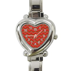 Background Retro Red Zigzag Heart Italian Charm Watch