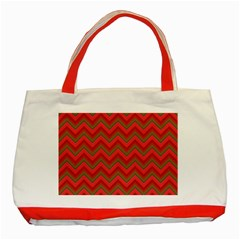 Background Retro Red Zigzag Classic Tote Bag (red)