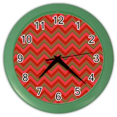 Background Retro Red Zigzag Color Wall Clocks