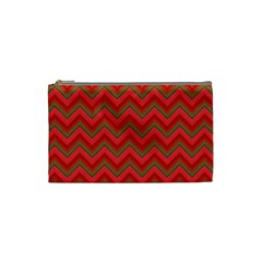 Background Retro Red Zigzag Cosmetic Bag (small)