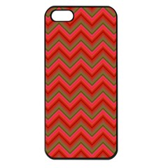 Background Retro Red Zigzag Apple Iphone 5 Seamless Case (black)