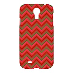 Background Retro Red Zigzag Samsung Galaxy S4 I9500/i9505 Hardshell Case