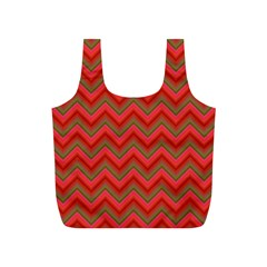 Background Retro Red Zigzag Full Print Recycle Bags (s)