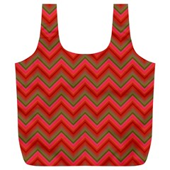 Background Retro Red Zigzag Full Print Recycle Bags (l)