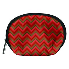 Background Retro Red Zigzag Accessory Pouches (medium)