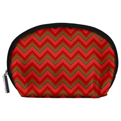 Background Retro Red Zigzag Accessory Pouches (large)