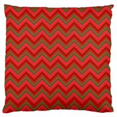 Background Retro Red Zigzag Large Flano Cushion Case (two Sides)