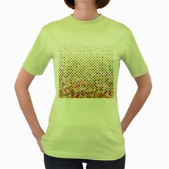 Pattern Square Background Diagonal Women s Green T Shirt