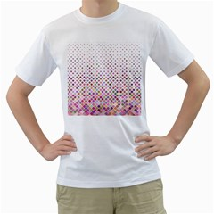 Pattern Square Background Diagonal Men s T Shirt (white) (two Sided)