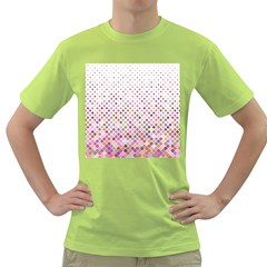 Pattern Square Background Diagonal Green T Shirt