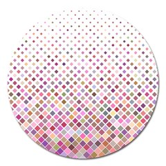 Pattern Square Background Diagonal Magnet 5  (round)