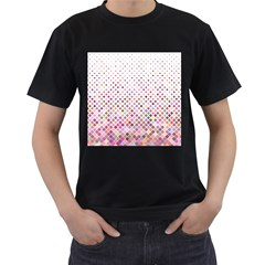 Pattern Square Background Diagonal Men s T Shirt (black) (two Sided)