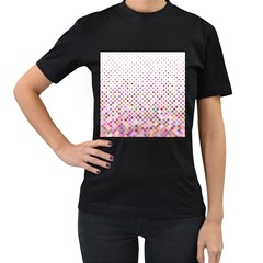 Pattern Square Background Diagonal Women s T Shirt (black) (two Sided)