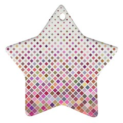 Pattern Square Background Diagonal Star Ornament (two Sides)