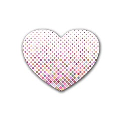 Pattern Square Background Diagonal Rubber Coaster (heart)