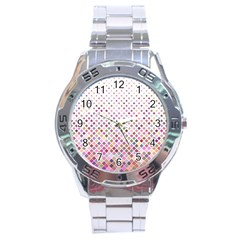 Pattern Square Background Diagonal Stainless Steel Analogue Watch