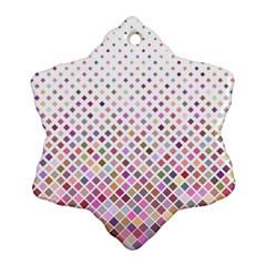 Pattern Square Background Diagonal Snowflake Ornament (two Sides)